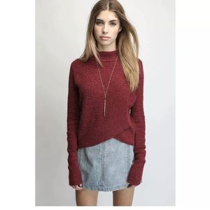 Free People Mock Neck Crossover Sweater